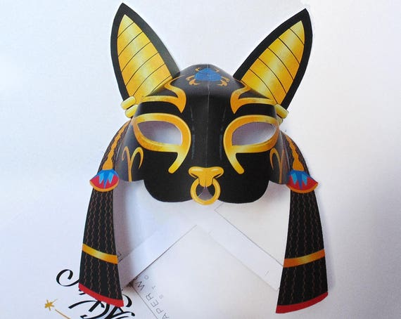 Egyptian cat mask printable cat mask bast mask goddess for Egyptian masks templates