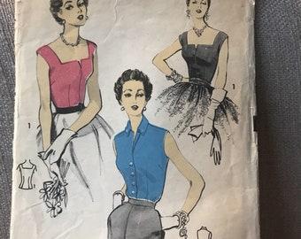 Vintage 50s Advance 6710 Blouse Pattern-Size 12 (30-25-33)