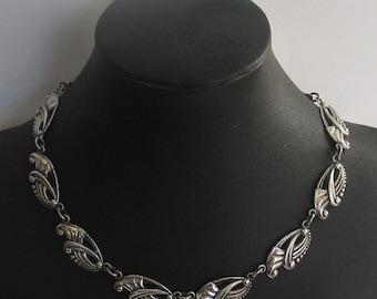 SALE Vintage Danecraft  Deco Leaf Sterling Necklace