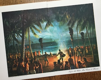 Hawaii Islands Vintage Original Frame Worthy Travel Illustrated Book Page