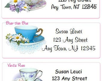 SALE Teacup Personalized Address Labels Elegant and Classy Designs