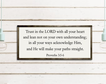 Trust in Lord with all your heart Christian Sign Scripture Bible Verse Wedding Gift Engagement Gift Proverbs 3:5-6