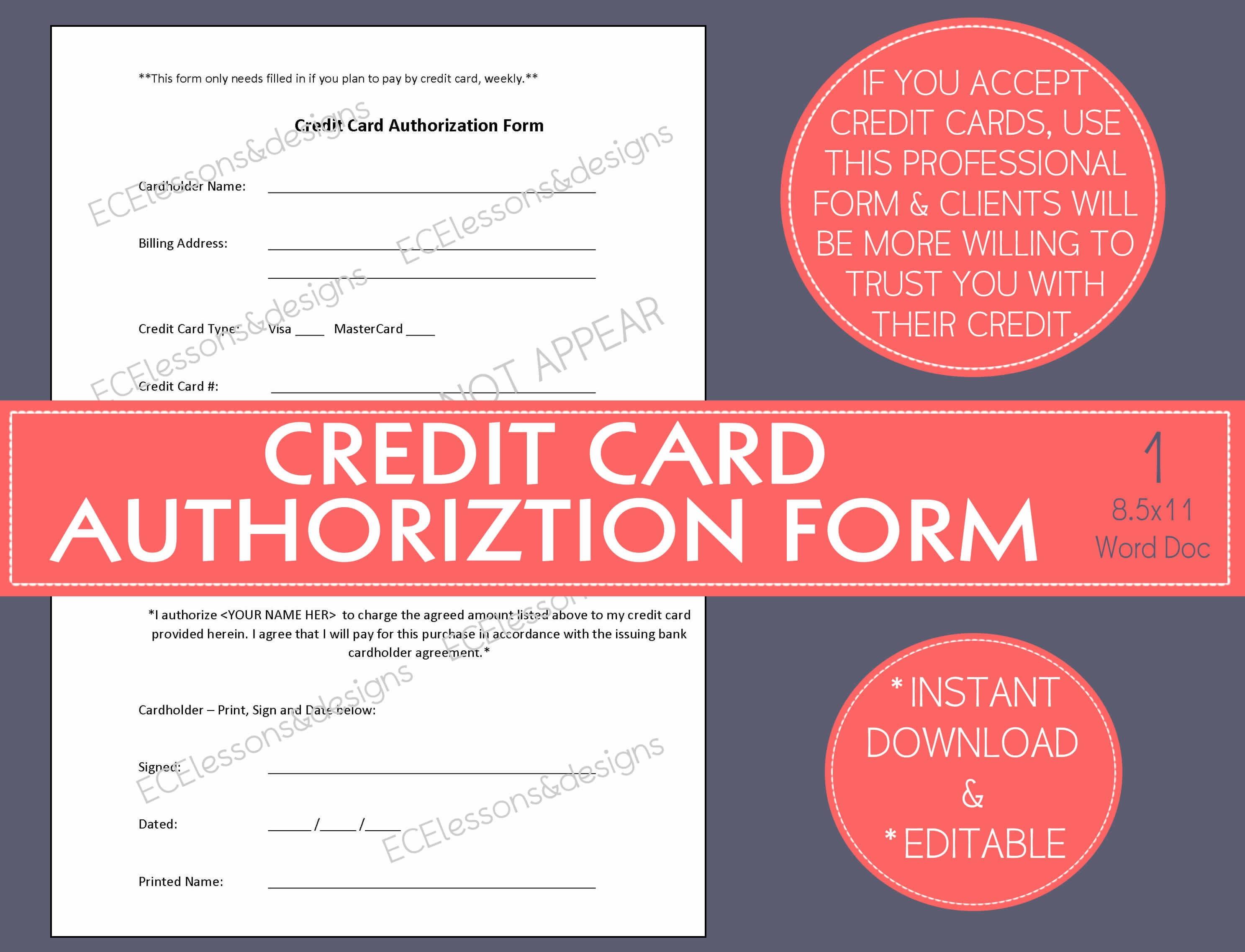 Credit card authorization form small business start up zoom colourmoves Gallery