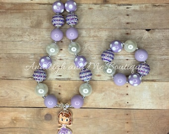 Sofia Purple Chunky Necklace, Purple and White Chunky Necklace, Sofia the First Chunky Necklace, Purple Silver and White Necklace, Sofia