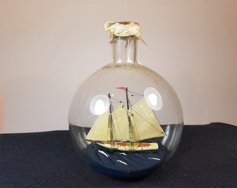 Vintage Miniature Model Ship in a Bottle with Original Cork Stopper Hand Made 1950's Mid Century