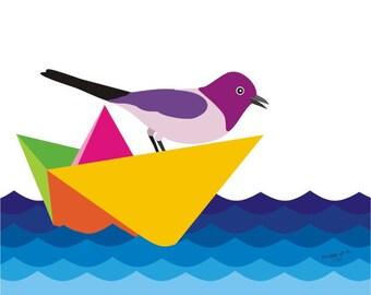 Kids wall art print - Paper boat - Bird illustration, nursery pop art, Nursery art, Kids room decor, Children's wall art, kids wall art
