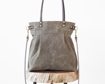 Waxed Canvas Charlie Bag Dark Oak, waxed canvas tote, waxed canvas crossbody bag, shoulder bag, carryall, convertible bag, pleated tote,