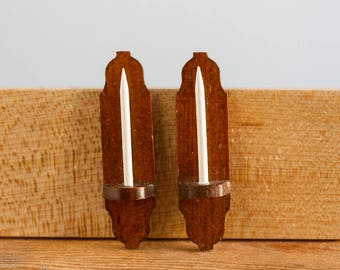 Artisan Signed Pair of Wooden Wall Sconces with Candles - 1:12 Scale Vintage Dollhouse Accessories