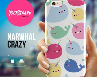 Narwhal iPhone 7 case, cute whale iPhone 6s, 8, 5s, SE, X case, iPhone 6 Plus case, narwhal samsung galaxy S8, s7 Edge, s6,s5 case,