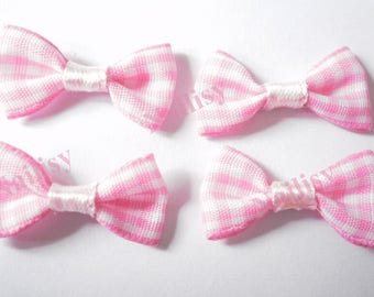 Set of 5 bows pink gingham REF258