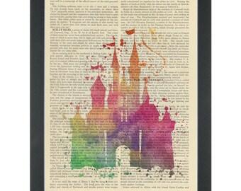 Princess Fantasy Castle Water Color Dictionary Art Print