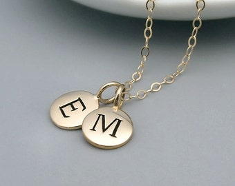 Gold Two Initial Necklace, 14k gold filled, double initial necklace, best friends, sisters, friendship necklace