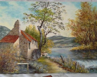 Near the old mill painting was oil on canvas, figurative painting, landscape Portugal River mill, interior decoration gift, oil painting