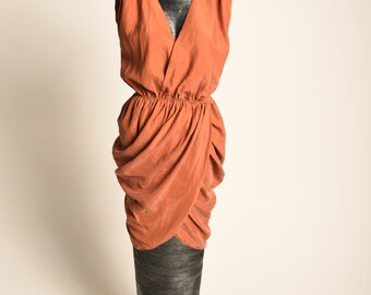Burnt Orange Silk Dress