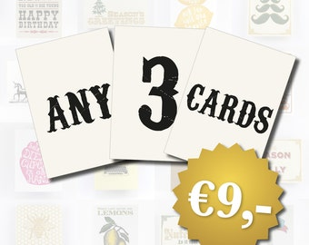 Bulk Card Discount - 3 Cards of your choice, Birthday Cards, Christmas Cards, Friendship Cards, All Occasion Cards, Pack of 3