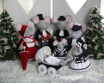 Combi pakket voor het complete Kersttafereel met alle Dickensmuizen en twee Kerstbomen