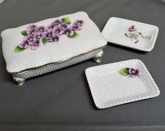 Vintage Norcrest Sweet Violets SV-2 Cigarette Box and Two Ashtray/Match holder