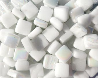 White Mini Glass Tiles - 8mm Square - 50 grams Opaque Glass Solid Color Mix of Glossy Iridescent and Matte Tiles