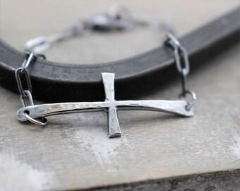 Rustic Cross Bracelet - Sterling Silver Cross Bracelet - Gift for Her - Cross - Link Charm Bracelet