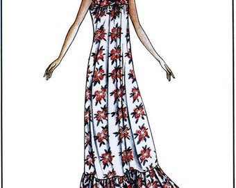 Victoria Jones Loose fit Muumuu w/Gathered Skirt Ruffle Sewing Pattern #105 size Petite - 3XL