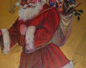 Santa Claus in Red Suit With Walking Stick and Sack of Toys Antique Christmas Postcard