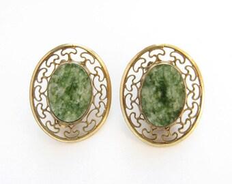Vintage Winard Earrings 1/20 12K GF Openwork Gold Filled and Mottled Green Stone Clip Earrings
