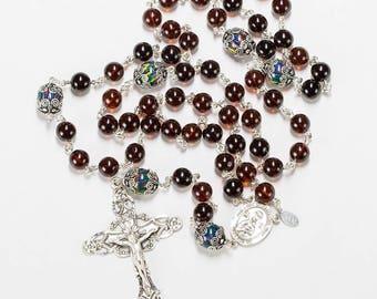Amber Australian Fire Opal Catholic Women's Rosary - Sterling Silver, Ornate Crucifix - Handmade Heirloom Rosaries, Custom Gift For Mom