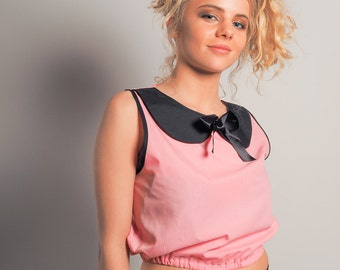 Pink Peter Pan Top, Bow Front Top with Collar, Sixties Style Top, Retro Style Crop Top, Pink Crop Top, Pink & Black Top Sizes: S and M