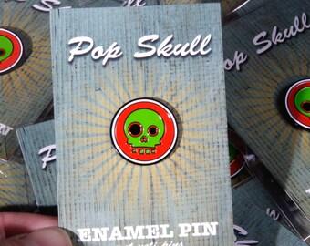 Enamel Pin Badge Pop Skull, Lapel Badge, Skull Pin, Bag Pin
