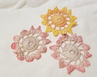 Vintage Hand Crocheted Appliques Pink Orange Yellow Embellishments