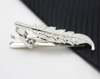 Feather Tie Clip, Silver Accessories, Novelty Accessories, Gift For Man