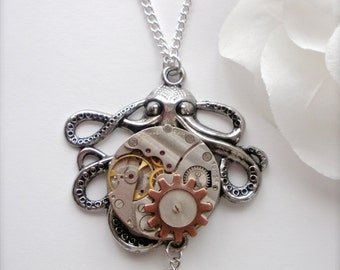 Steampunk Octopus Necklace, Ruby Jeweled Watch Movement Octopus Pendant, Glass Pearl Octopus Necklace, Ocean, Octopus Jewelry, Unique Gift