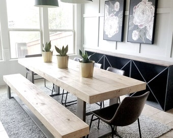 Made to Order Modern Rustic Farmhouse Dining Table and Bench Set