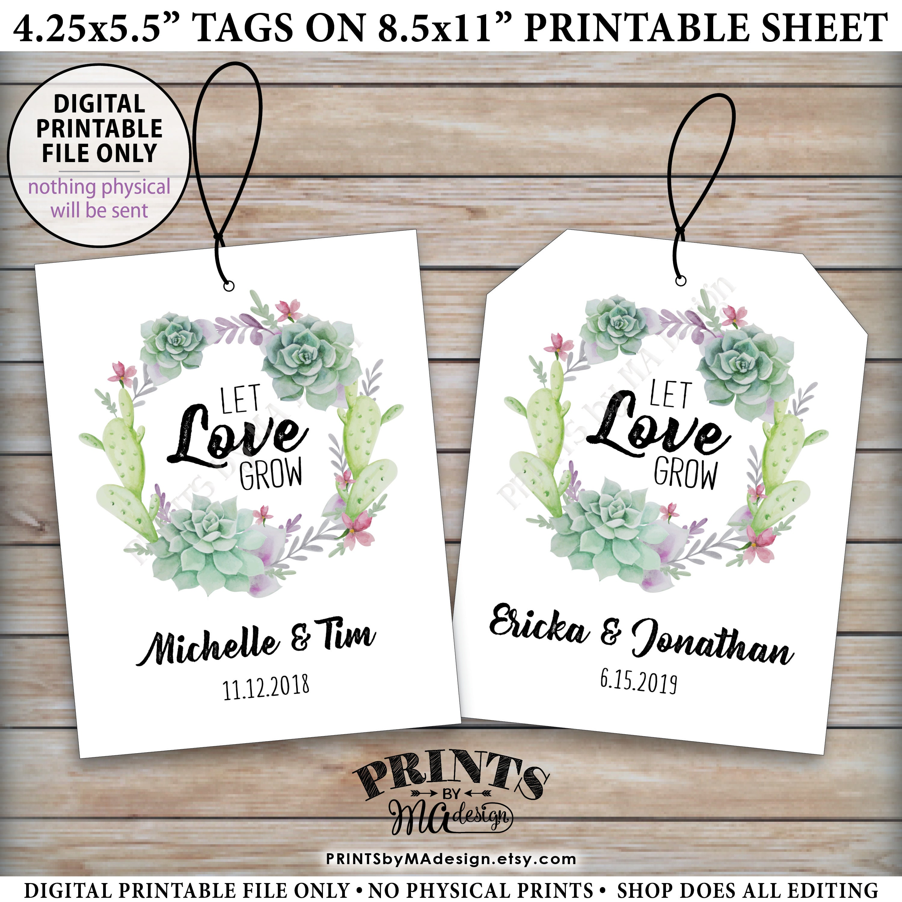 Let Love Grow Tags, Southwest Wedding Succulents Tags, Cactus ...