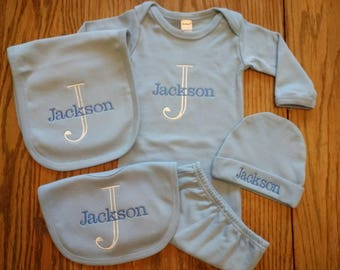 Baby Boy Gown Baby Blue Baby Gown Personalized Baby Boy gown baby boy coming home outfit