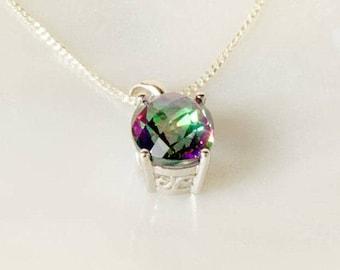Sterling Silver Mystic Topaz Pendant, Oval Topaz Pendant, Silver Pendant, 925 Silver Jewelry, Topaz Jewelry, Topaz Necklace, UK Seller