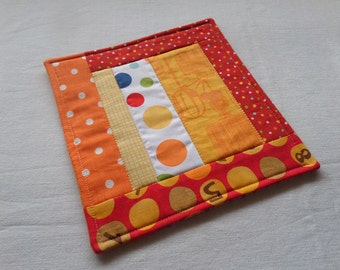 NEW Quilted Patchwork Coaster, Mug Rug, in Red & Orange