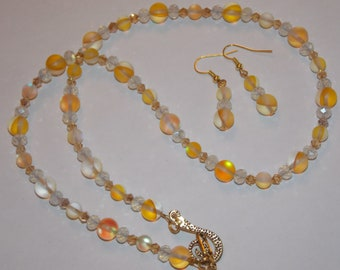 Yellow Glass Bead White Rondelle Golden Champagne Crystal Necklace and Earring Set