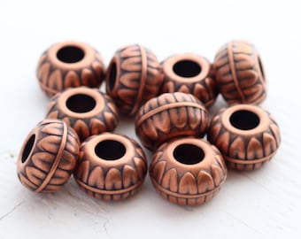 Vintage Italian Lucite Large Hole Beads -  Antique Copper - 11x18mm - 10 beads