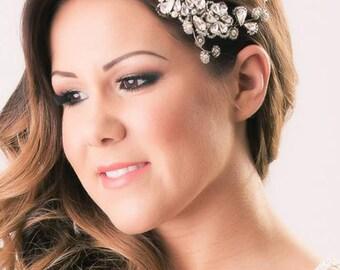 Swarovski Crystal Wedding Hair Vine Crystal Diamante Ivory Pearl Bridal Hair Accessory (Janey Hair Vine)