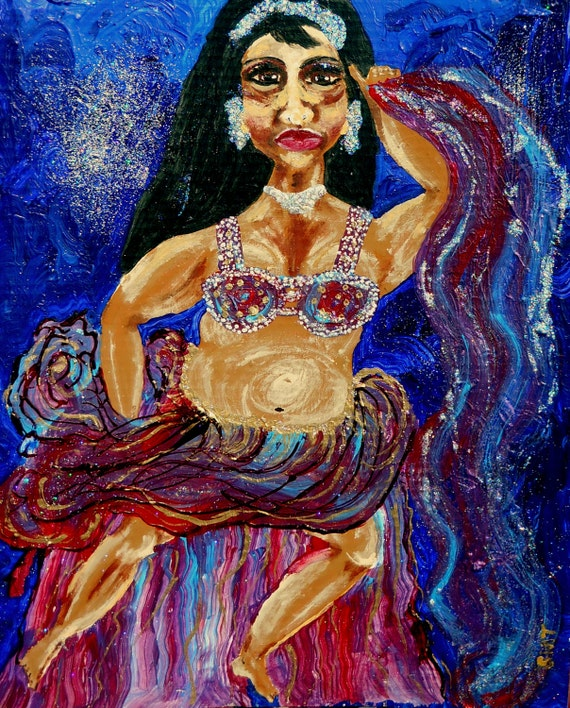 """BATHSHEBA, Mix Media Painting on 16 x 20"""" primed cardboard, African American Art, by Artist Stacey Torres, portrait"""