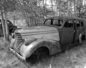 Antique Car Junk Yard Art Photography Vintage Sedan Black and White Print