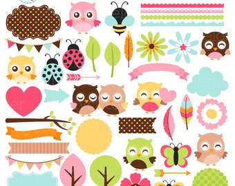Cute Little Owls Clipart Set - digital elements - owls, borders, flowers, frames, bee - personal use, small commercial use, instant download
