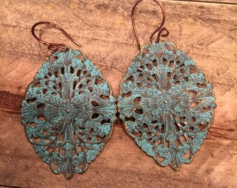 Green patina filagree earrings