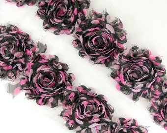 """Rose Trim - """"Black with Pink hearts pok-a-dots""""  Shabby Chiffon Flower, shabby flower trim, shabby chiffon rose trim, shabby trim"""
