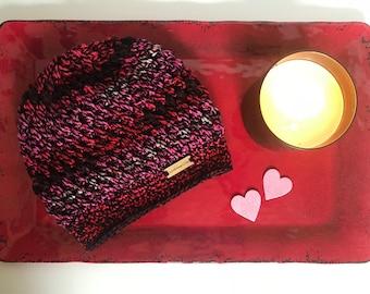 Ready to Ship Handmade puff stitch crochet slouchy beanie hat
