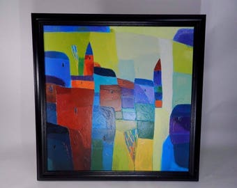 Original Peter Chung Signed Abstract Town Oil Painting Wall Art