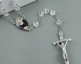 Handmade Faceted Clear Crystal Cube Catholic Rosary with St. Padre Pio Centerpiece with a Papal Crucifix