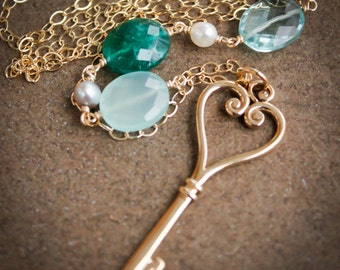 Gold Skeleton Key Necklace - Green Emerald Quartz, Chalcedony, Aqua Quartz - Long Necklace
