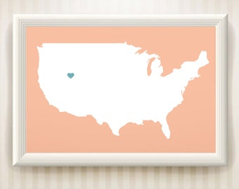 USA Heart Map Print